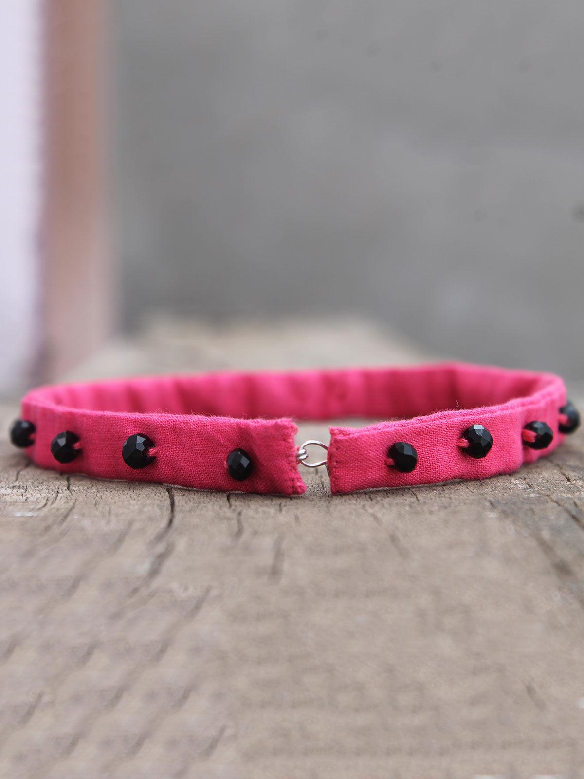 Tara pink bead choker
