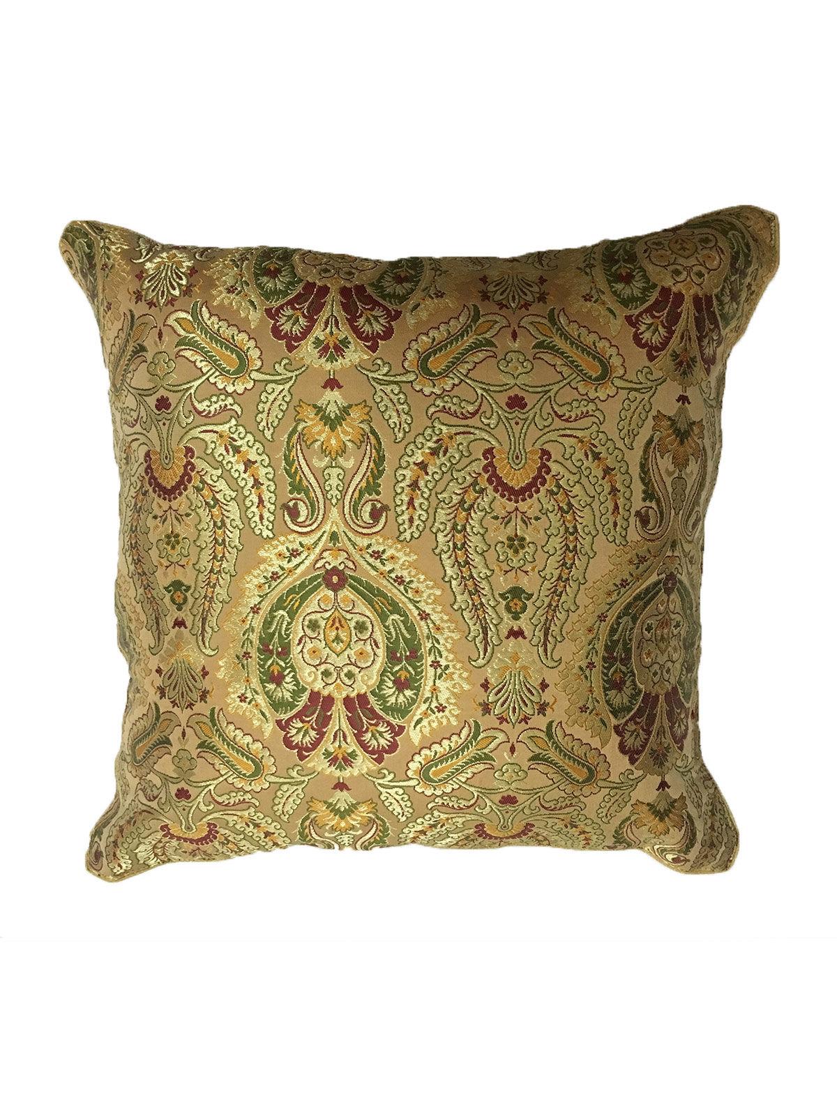 Beige Banaras Brocade Cushion Cover