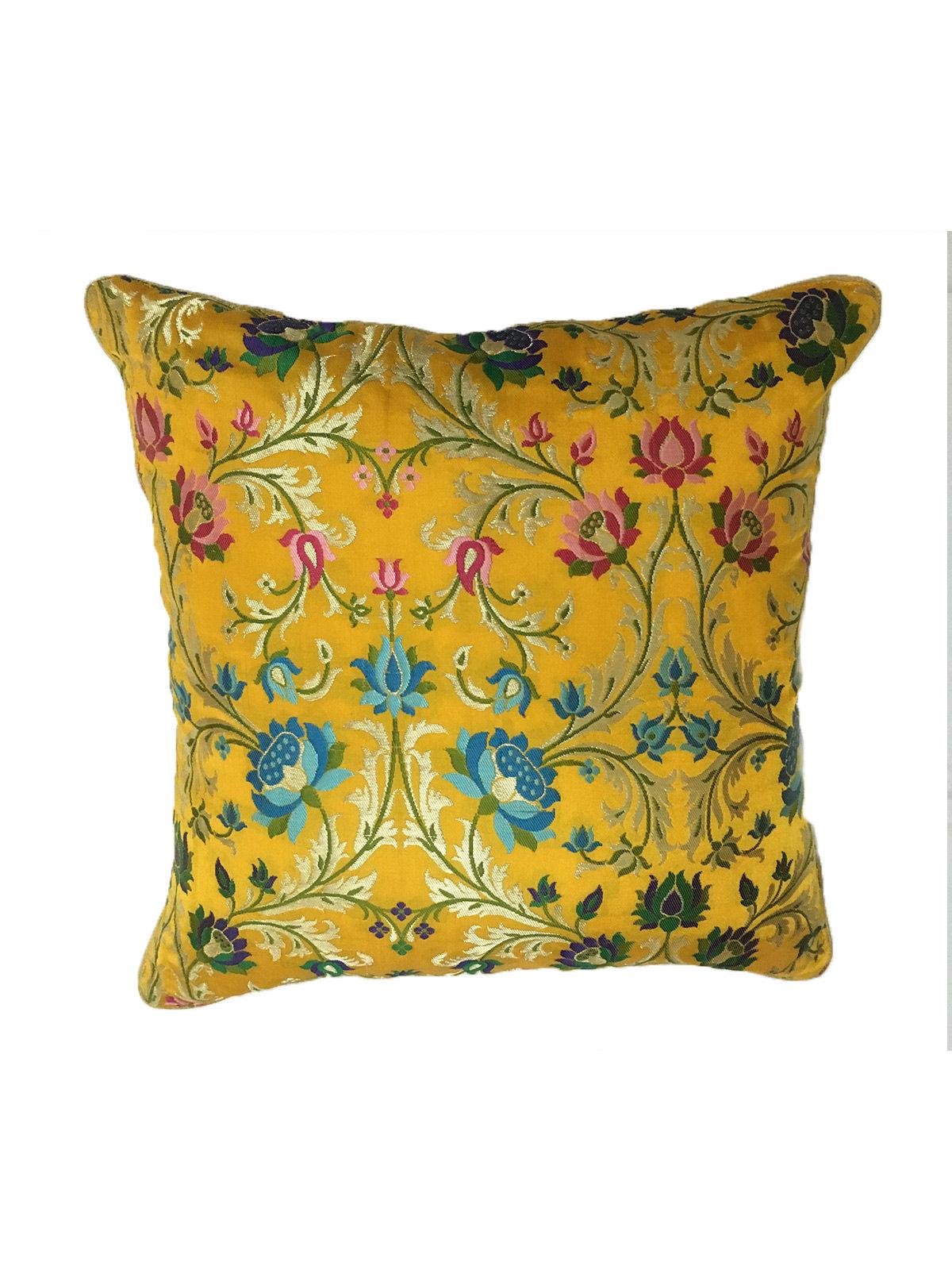 Yellow Banaras Brocade Cushion Cover