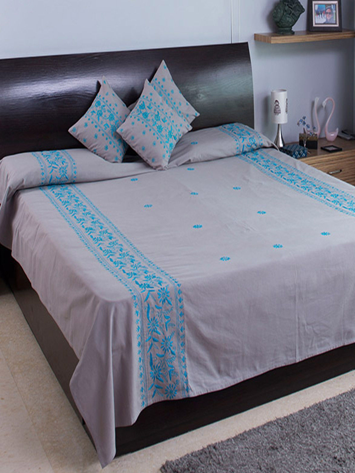 Grey and Blue Handmade Emrboidered Bed Cover with 2 Pillow Covers