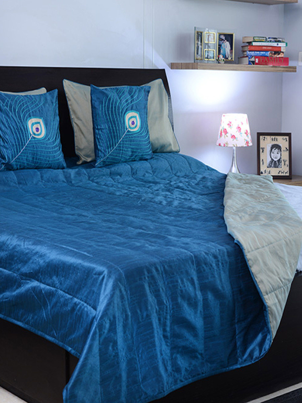 Handmade Blue Reversible Silk Double Bed Cover with 2 Pillow Covers & 3 cushion covers