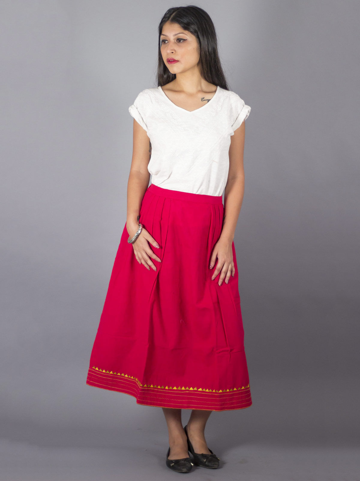 Red Side pleated embroidered Skirt