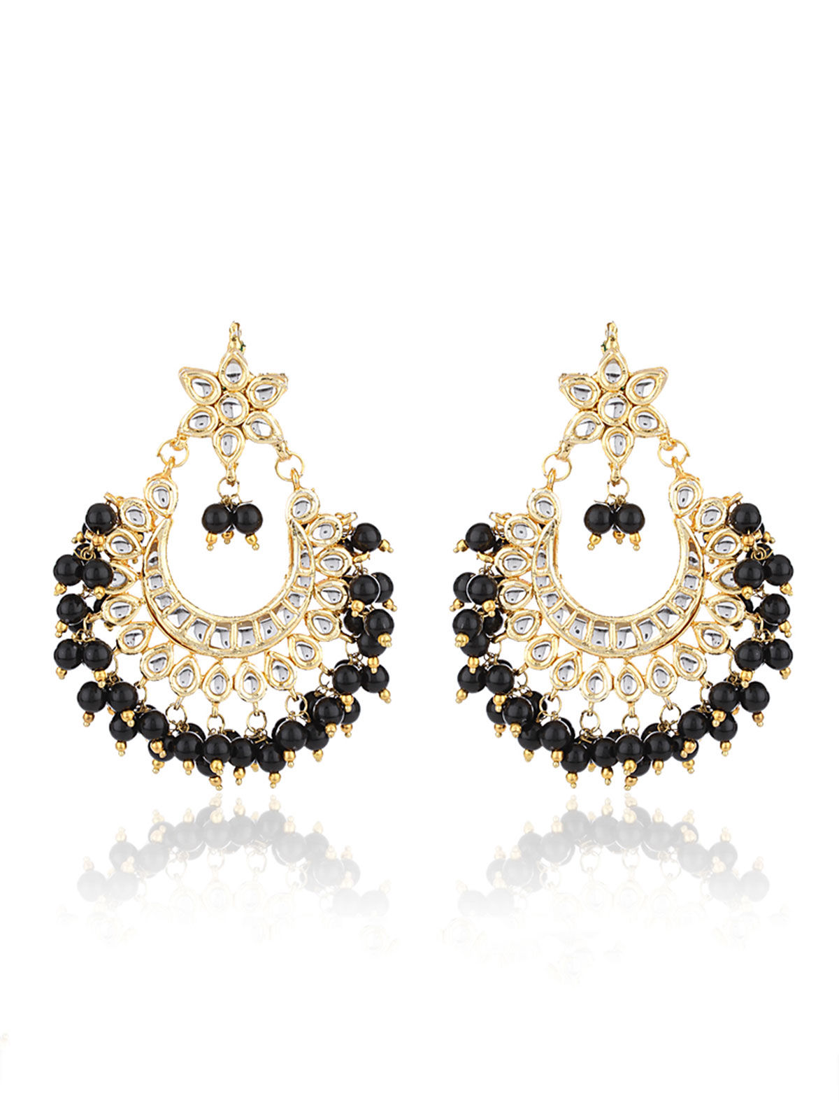 Black Bead Chandbali Earrings