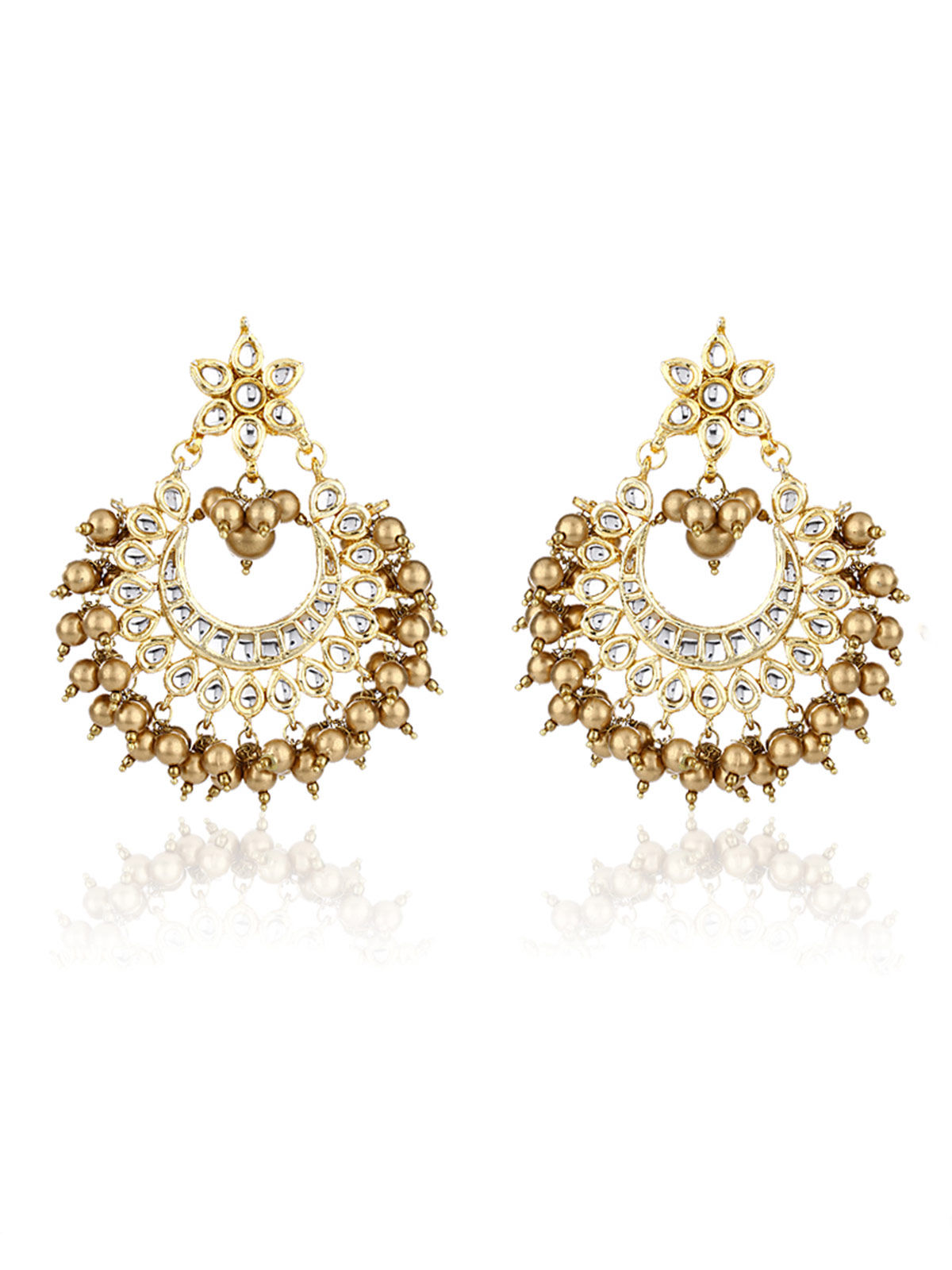 Golden Bead Chandbali Earrings
