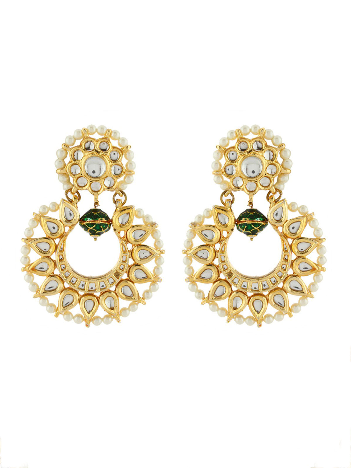 green bead Kundan Chandbali Earrings