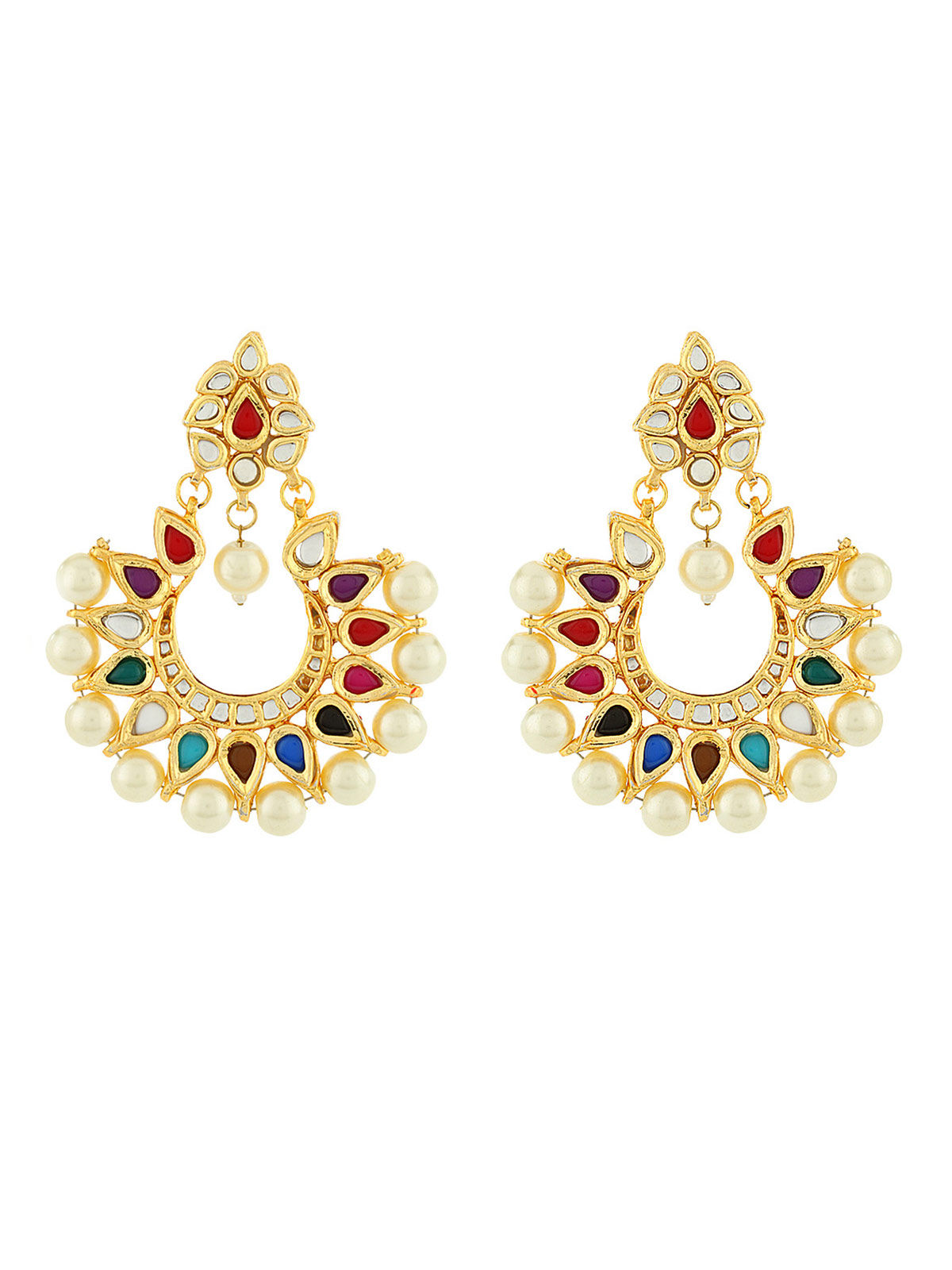 Navratan Chandbali Earrings
