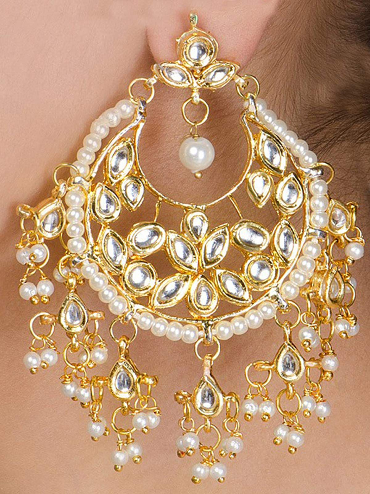 Kundan Jhalar Chandbali earrings