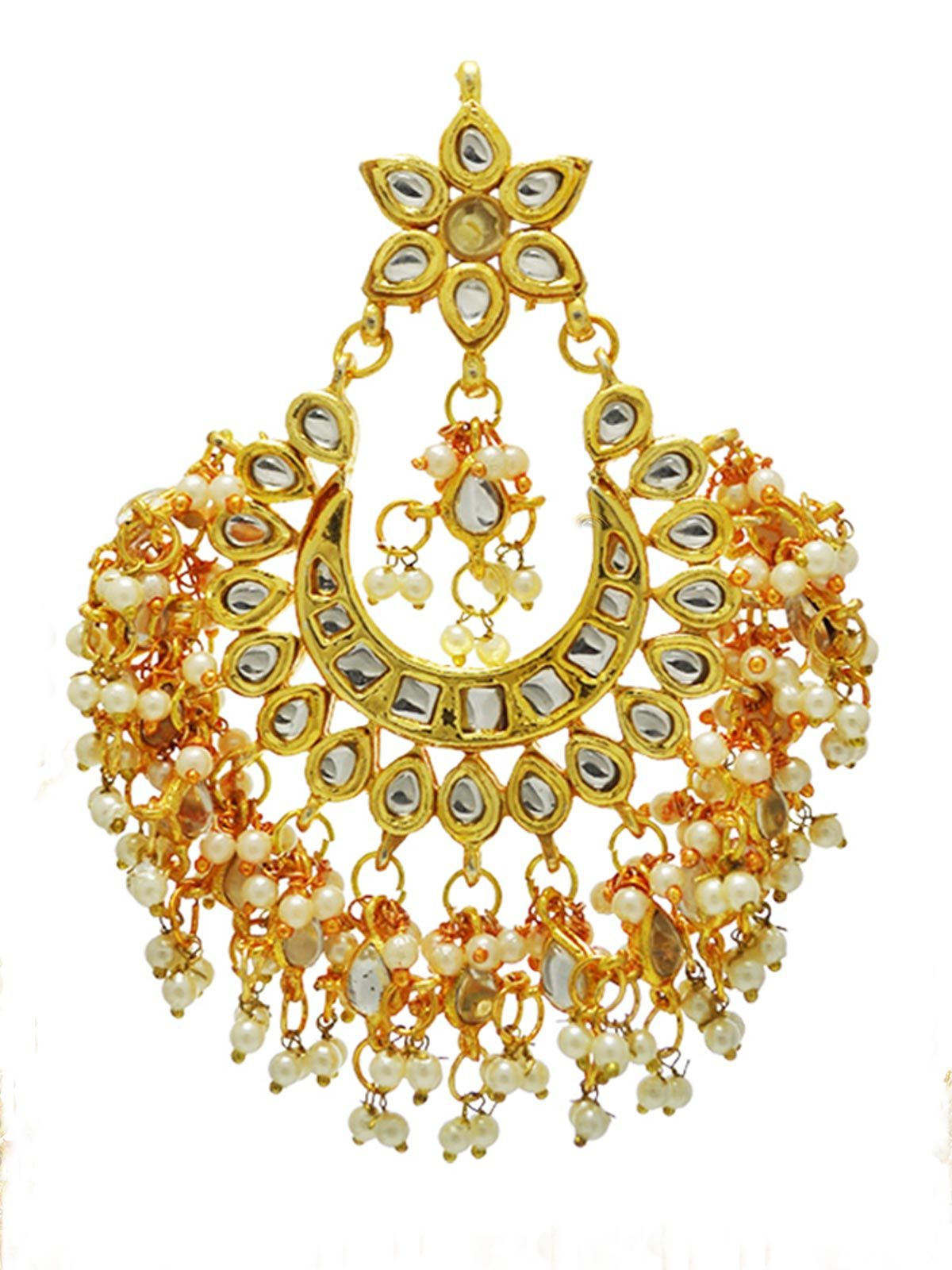 Kundan and Pearl Bridal Chandbali earrings