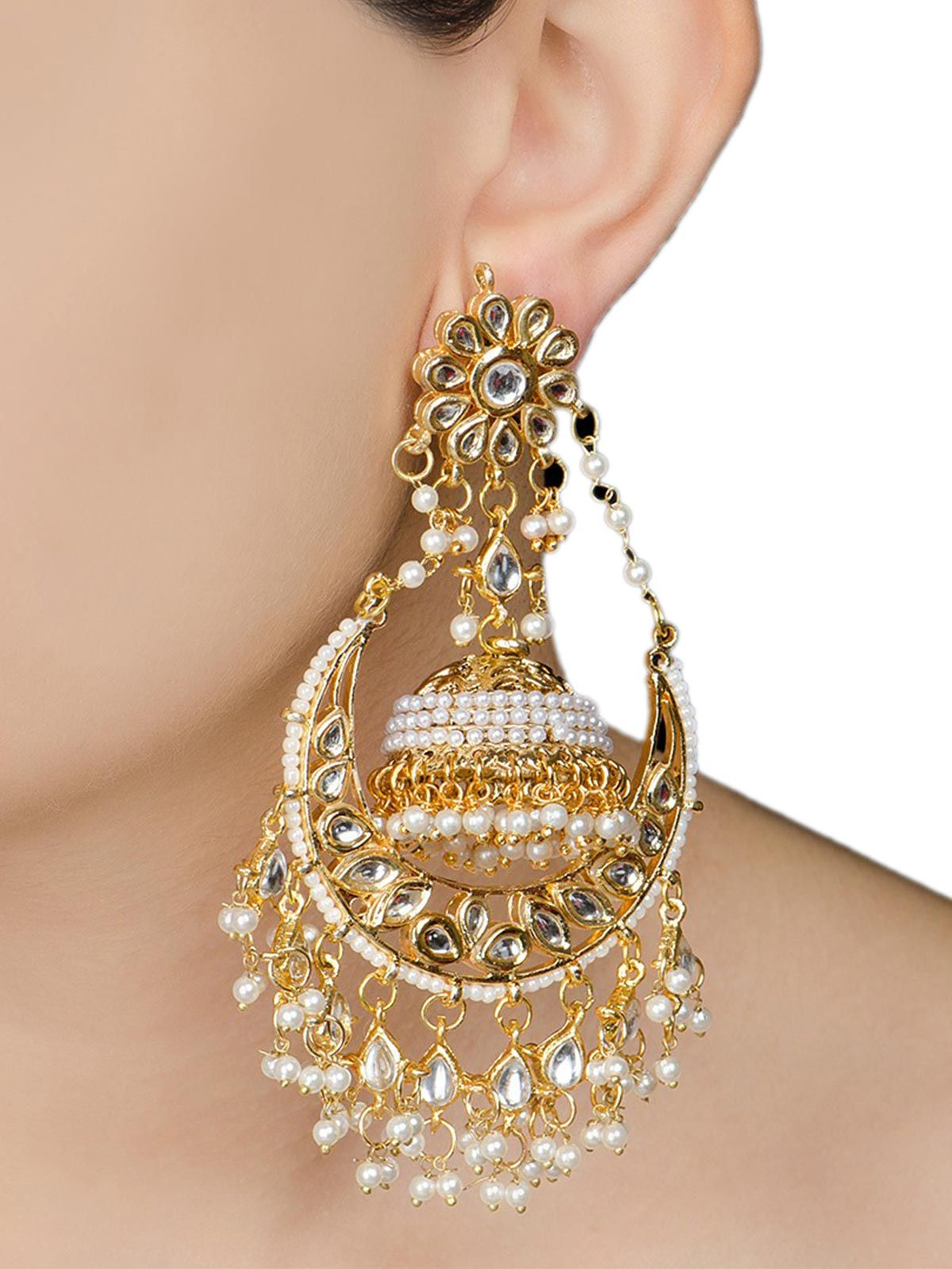 Ivory Half-Moon Jadau Golden jhumka earrings