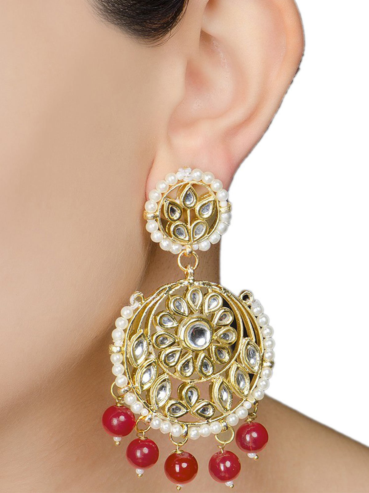 Ivory Floral Jadau Red Earrings