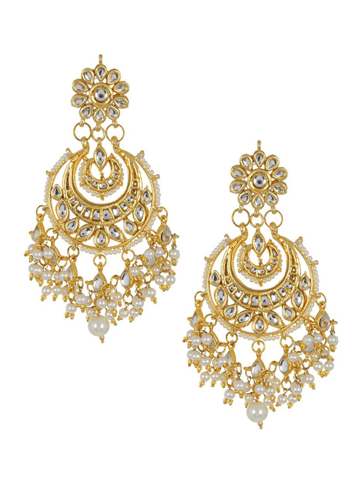 Ivory Half-Moon Jadau Golden Earrings
