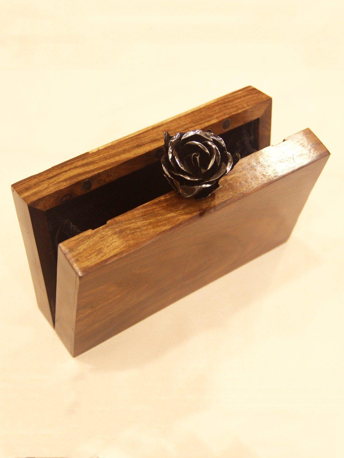 Indigo Denim wooden texture womens clutch