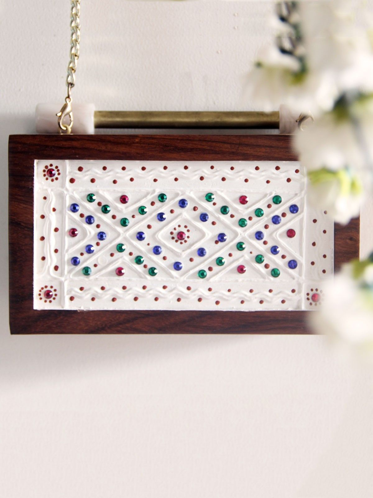 Leppan white wodden frame with multicolored stones womens  Clutch