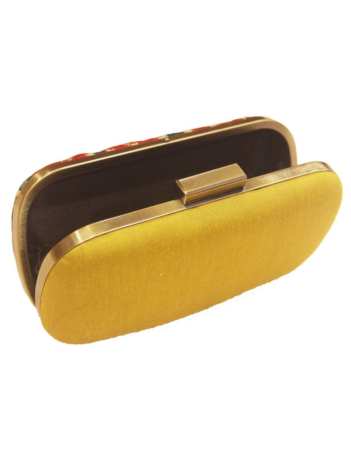 Mustard handloom Ikat metal frame women,s clutch