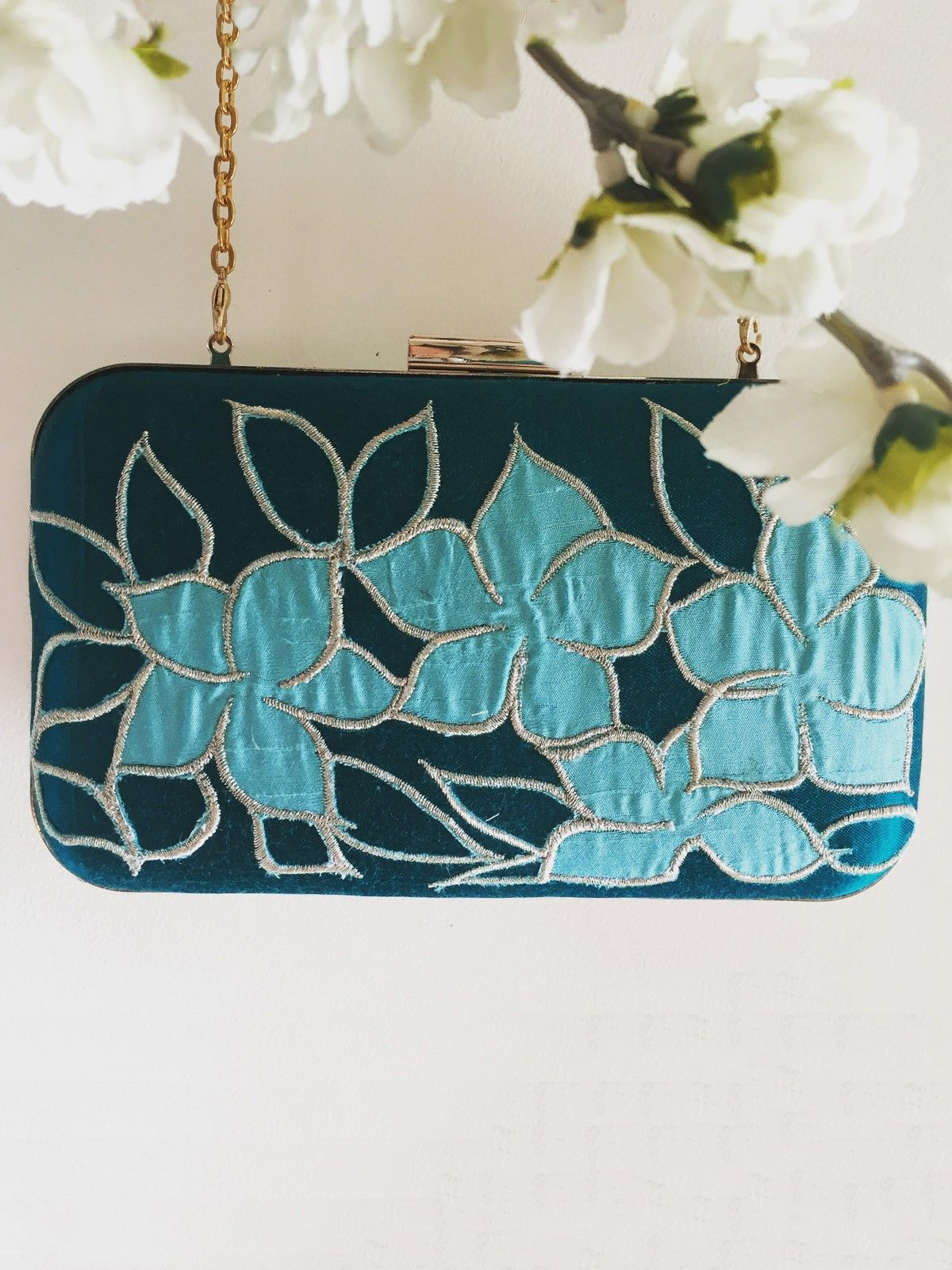Indigo Blue handloom Ikat metal frame women's applique clutch