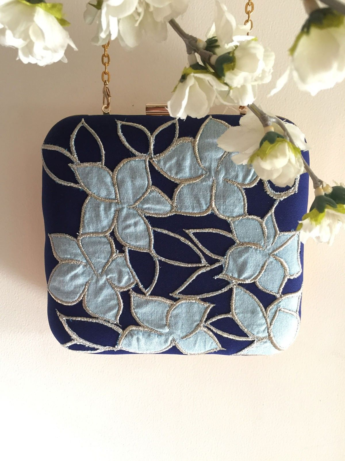 Blue & pastel blue handloom fabric  women's applique clutch