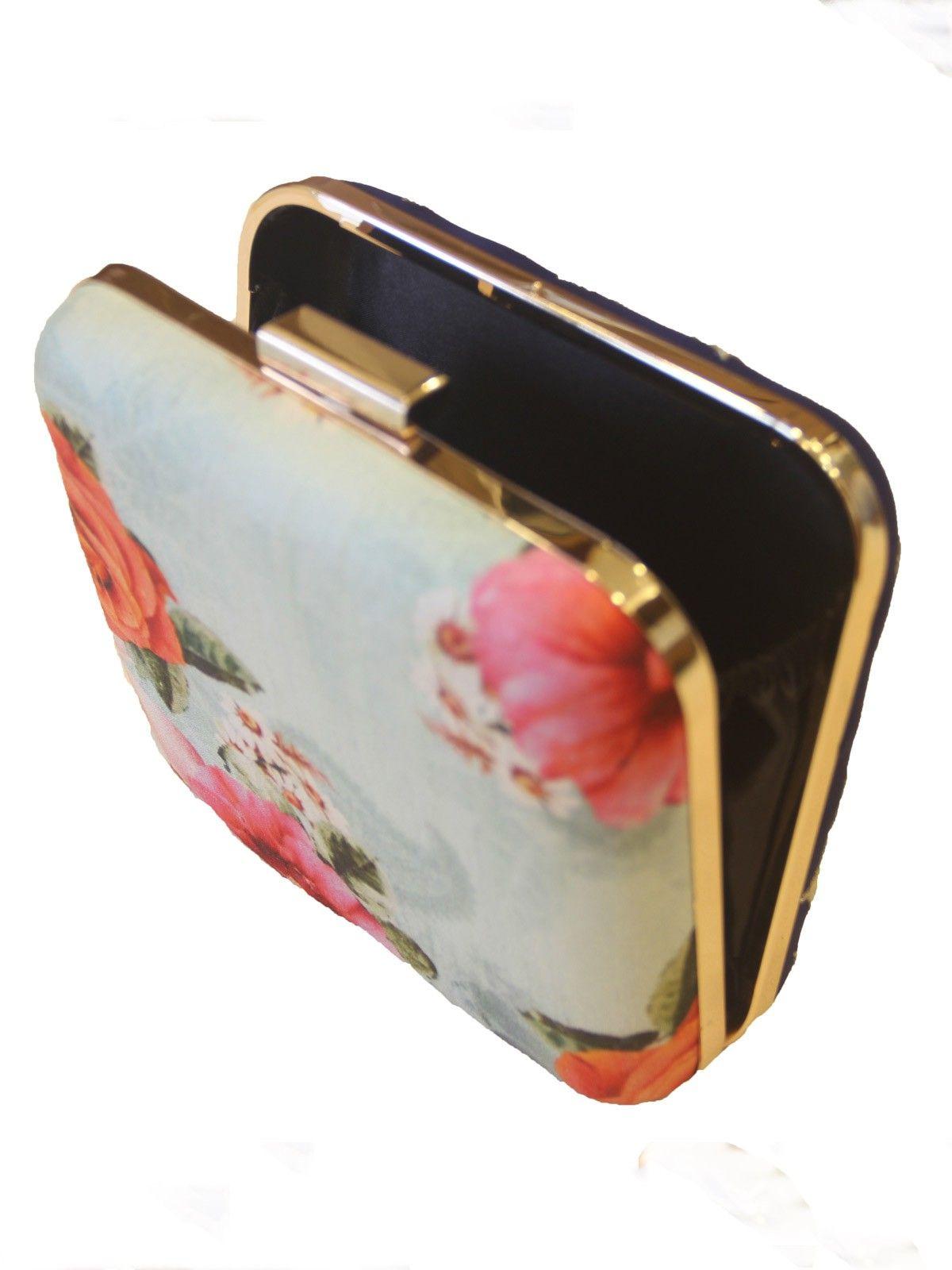 Floral digital print handloom fabric  women's applique clutch
