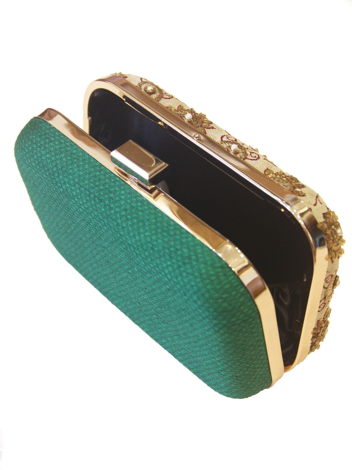 Dark Green banarasi brocade metal framne  women's applique clutch