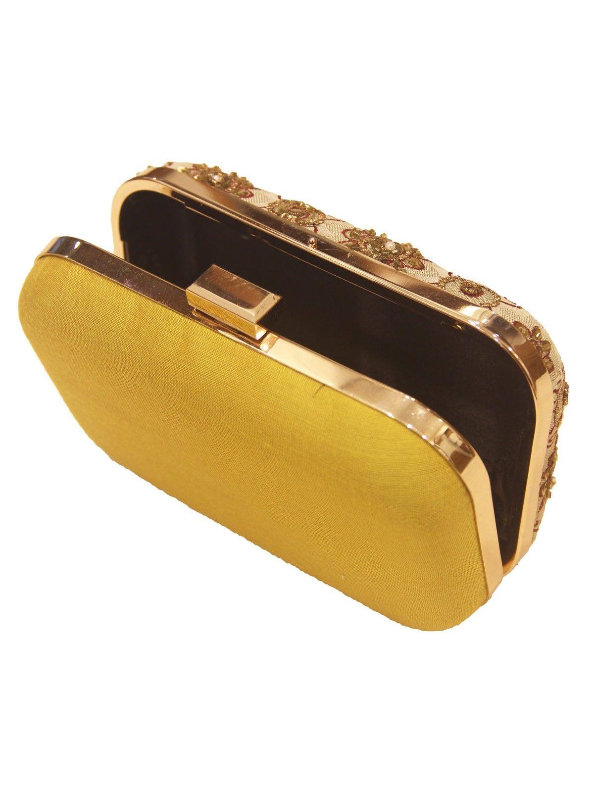 Mustard Yellow banarasi brocade metal framne  women's applique clutch