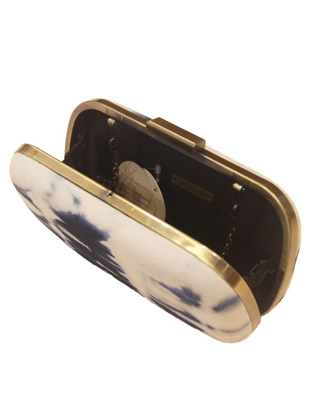 Indigo Blue denim metal framne  women's applique clutch