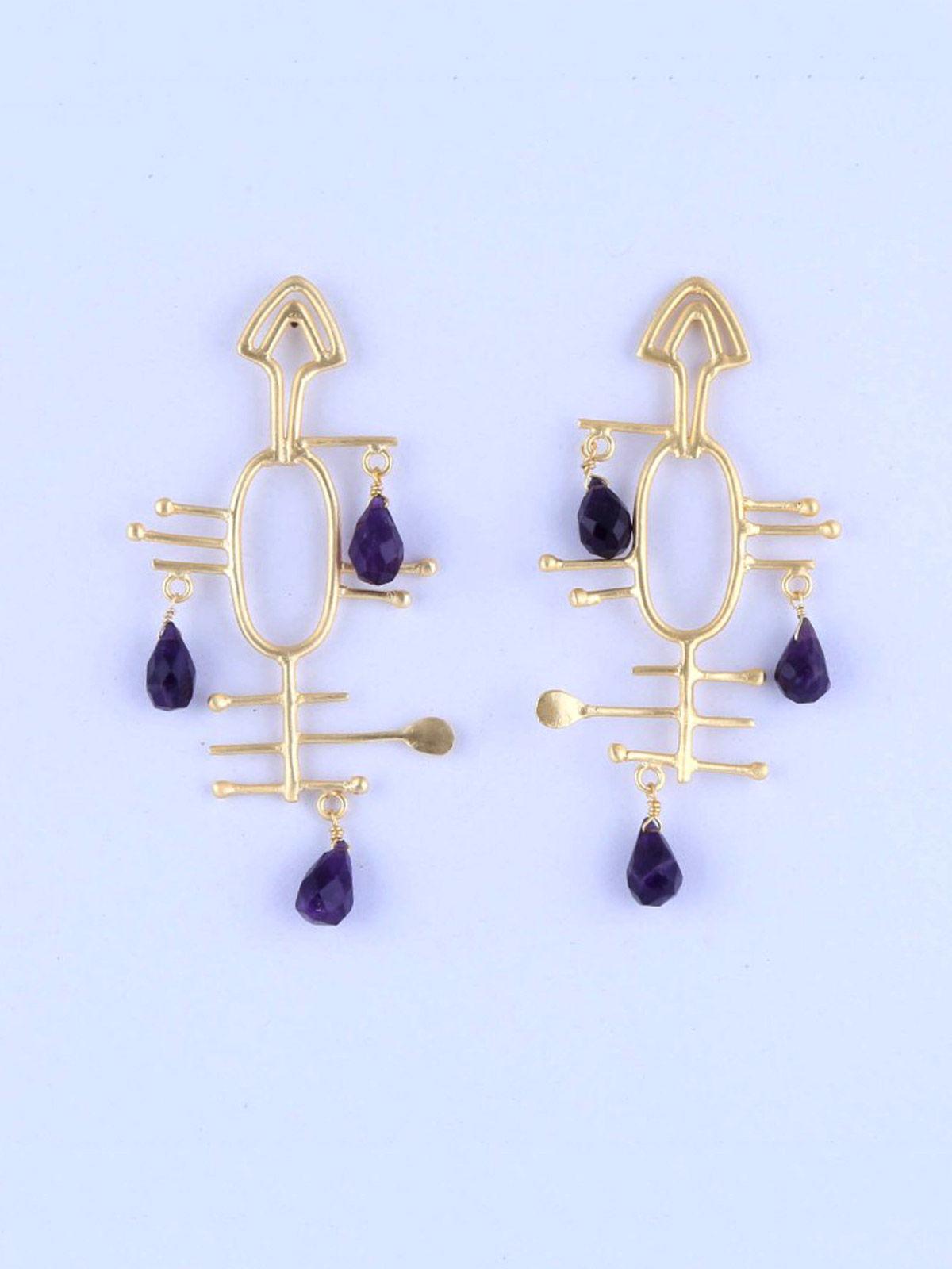 Barkley semi precious metal earrings
