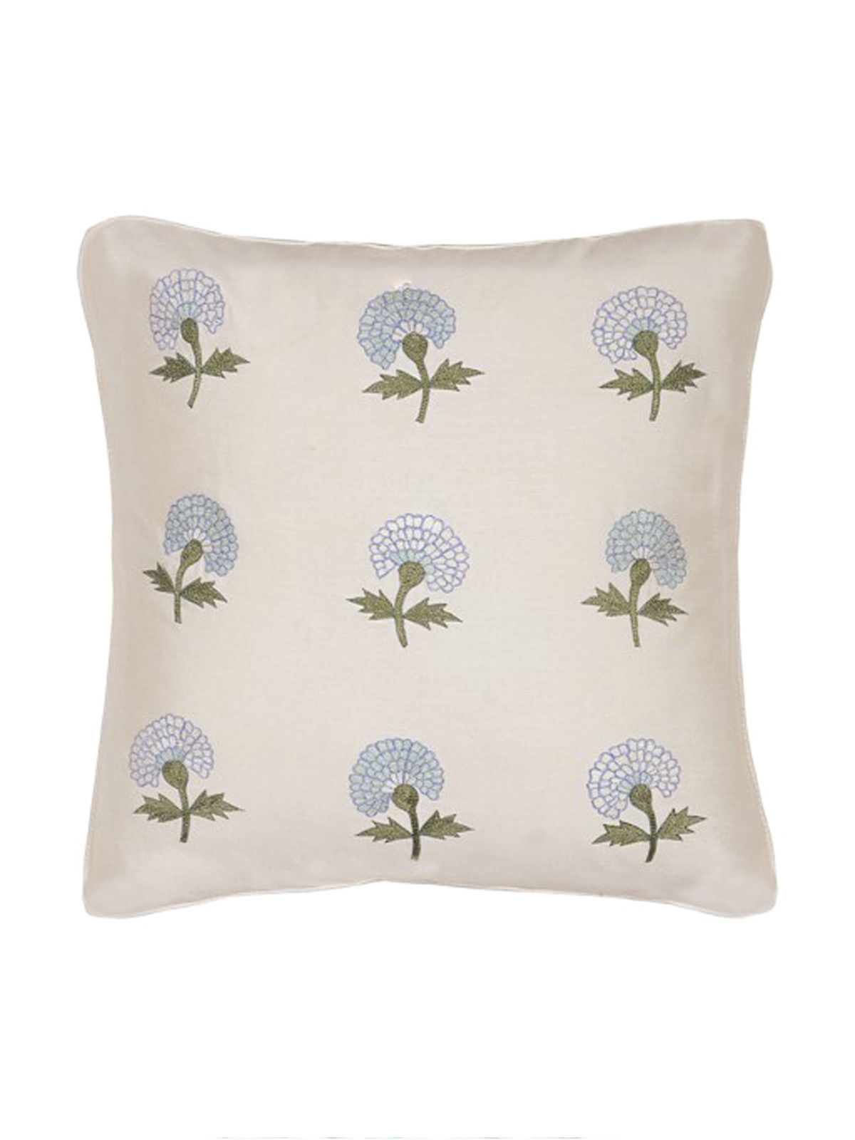 White-Blue Embroidered Silk Cushion Cover with Marigold Motif