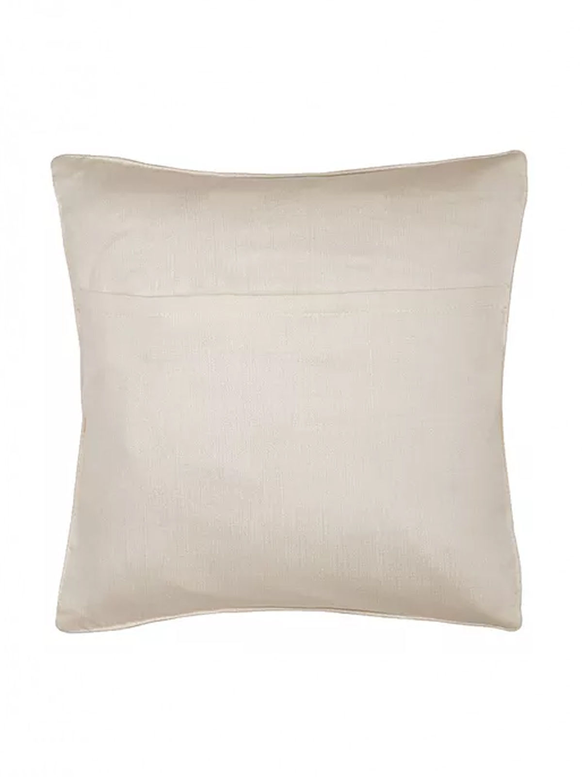 White-Yellow Embroidered Silk Cushion Cover with Marigold Motif