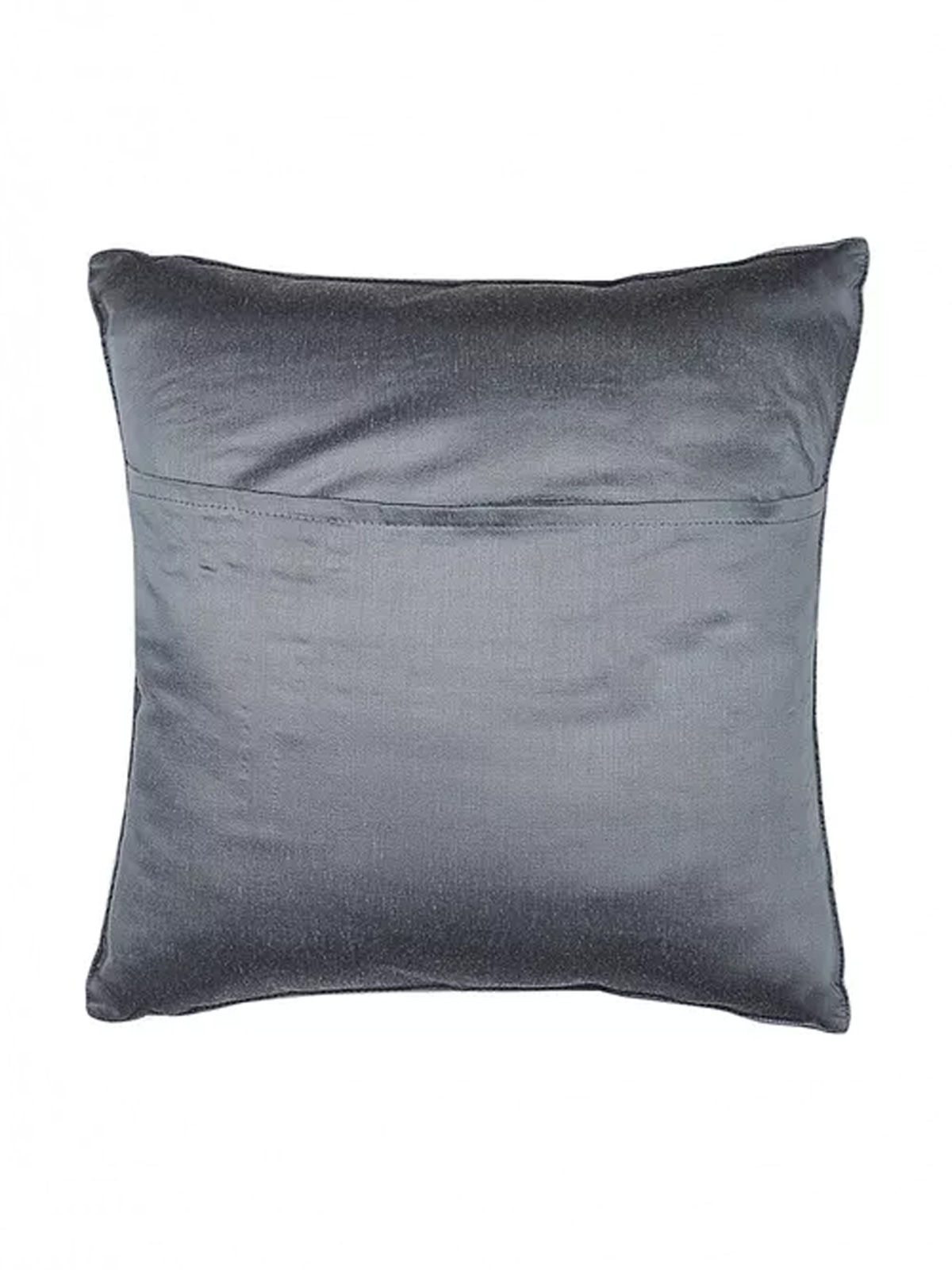 Grey-Blue Embroidered Silk Cushion Cover with Marigold Motif