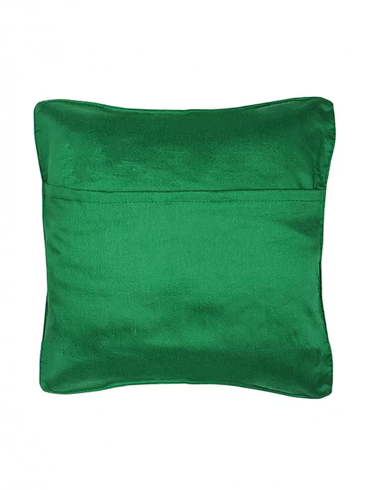 Green-White Embroidered Silk Cushion Cover with Marigold Motif