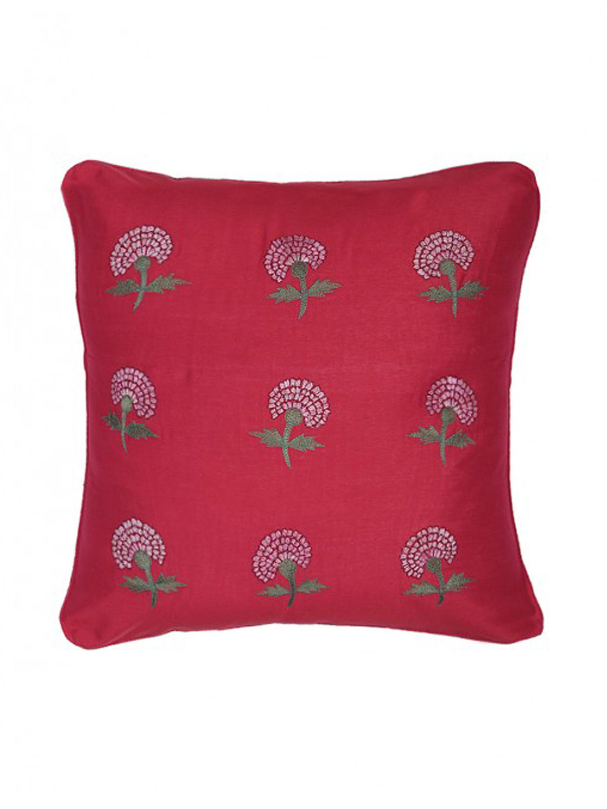 Red-White Embroidered Silk Cushion Cover with Marigold Motif
