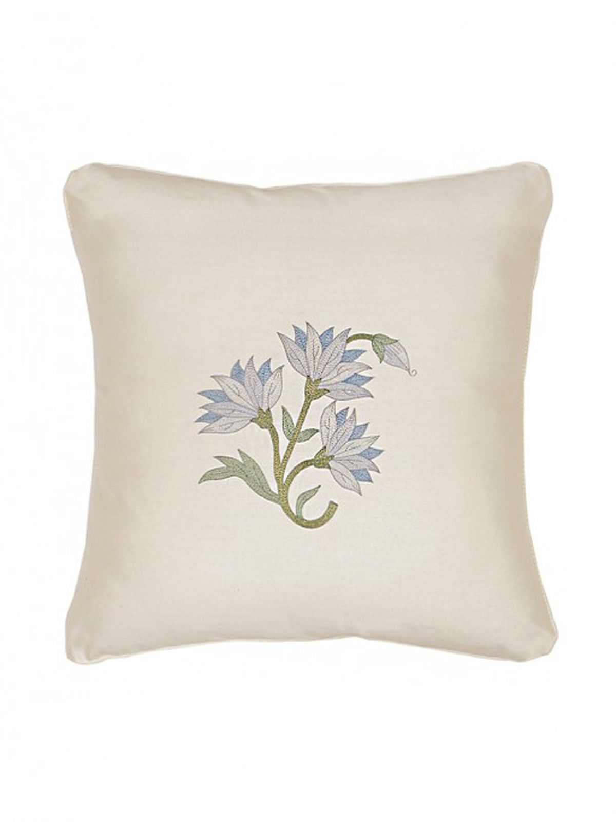 White-Blue Embroidered Silk Cushion Cover with Floral Motif