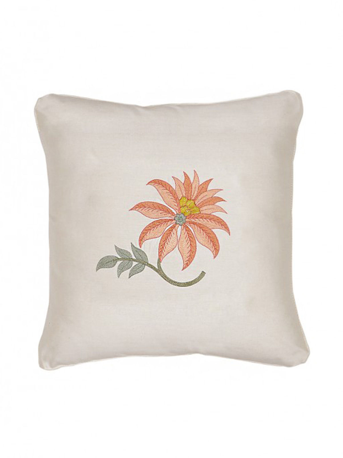 White-Rust Embroidered Silk Cushion Cover with Floral Motif