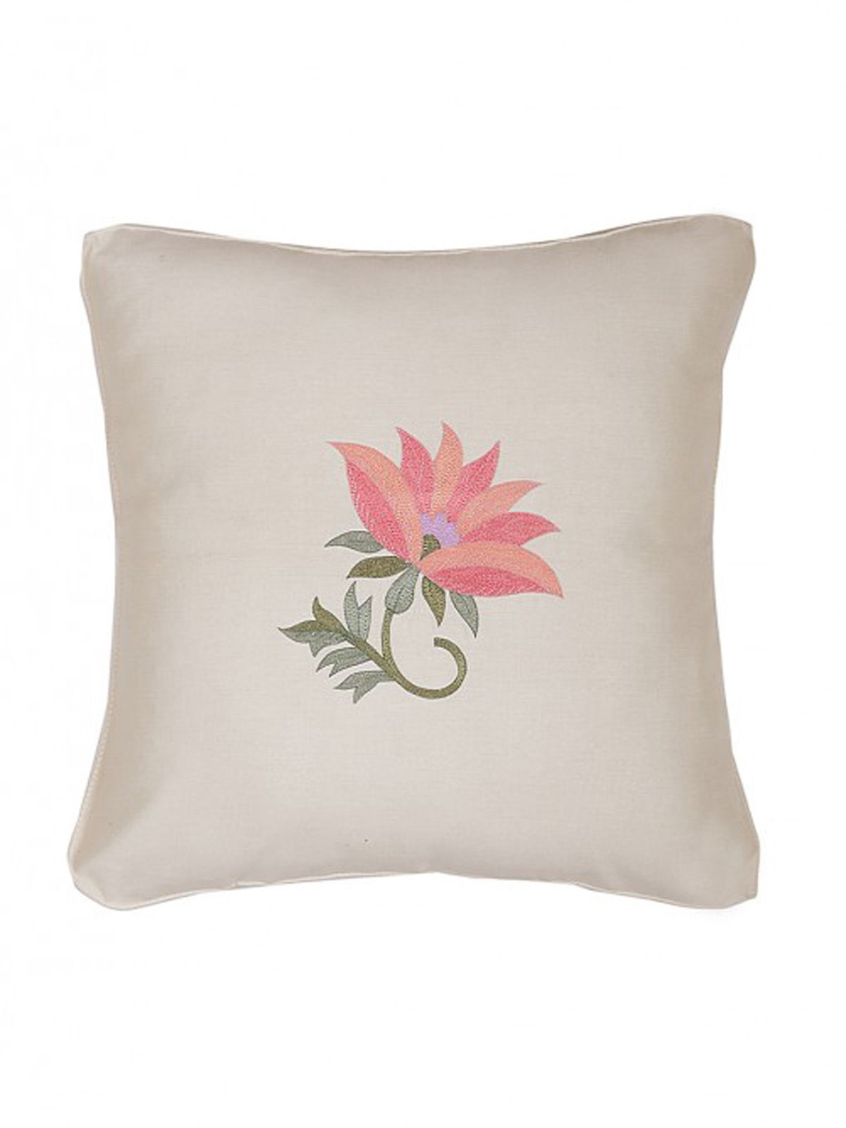 White-Pink Embroidered Silk Cushion Cover with Floral Motif