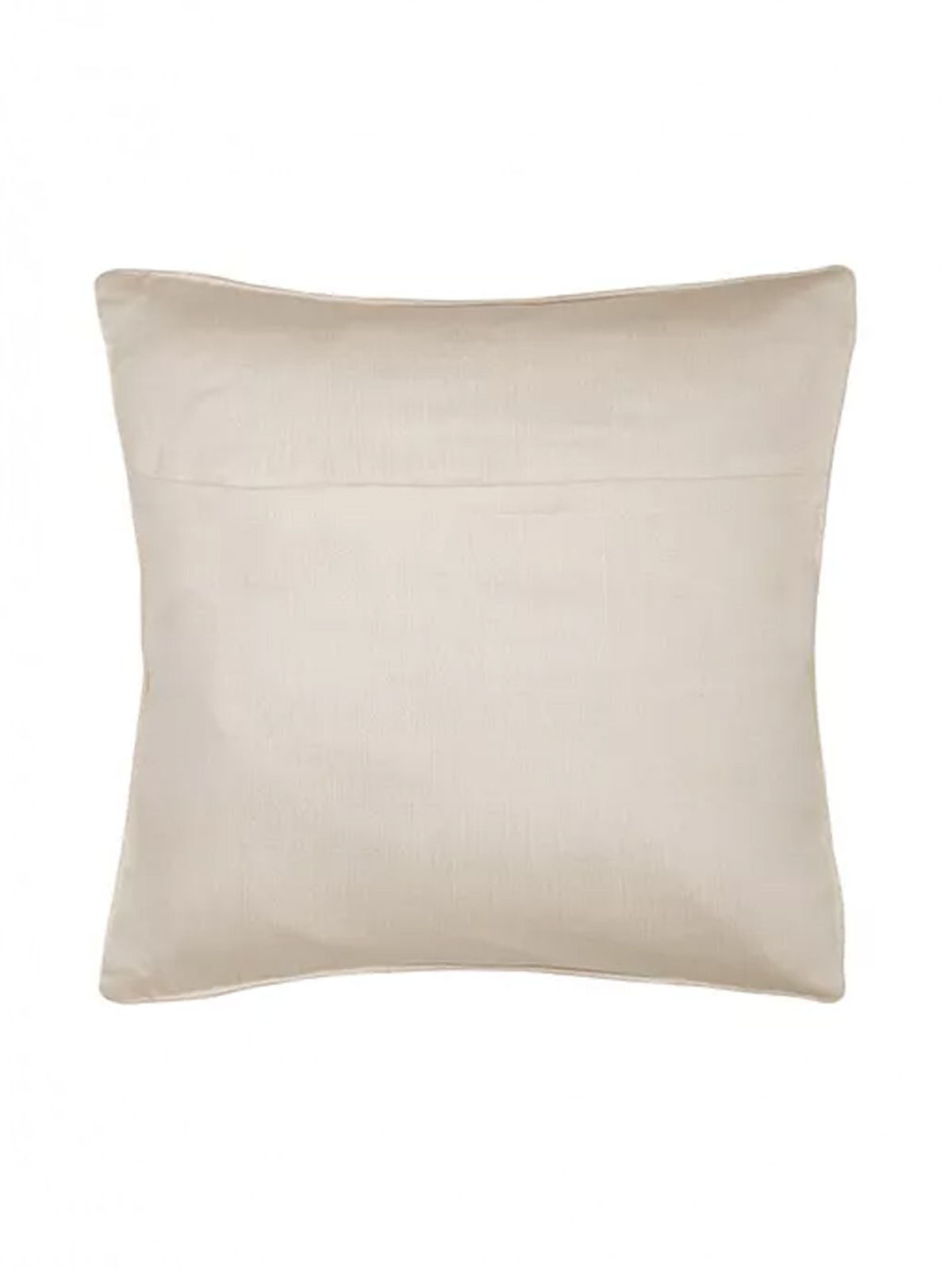 White-Green Embroidered Silk Cushion Cover with Marigold Motif