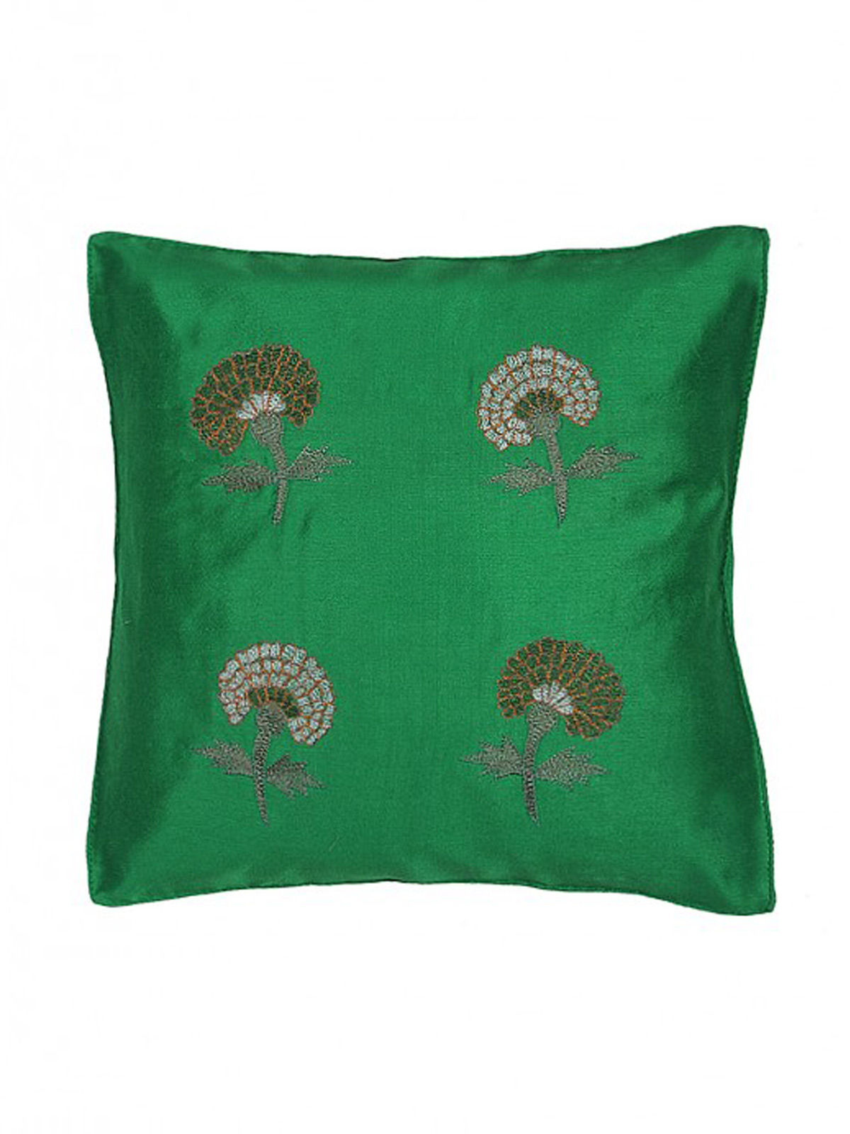 Green-Grey Embroidered Silk Cushion Cover with Marigold Motif