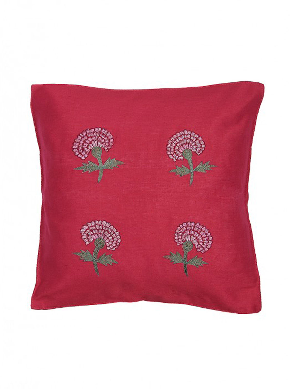 Red Embroidered Silk Cushion Cover with Marigold Motif