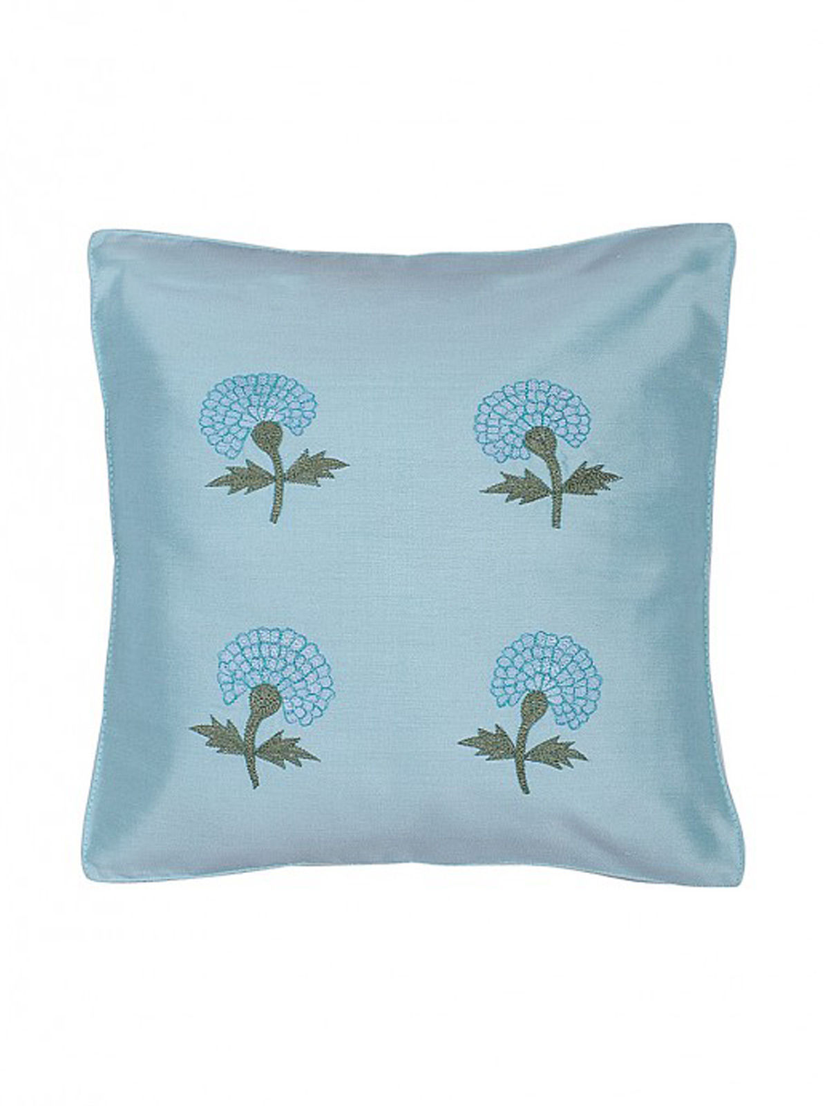 Blue Embroidered Silk Cushion Cover with Marigold Motif