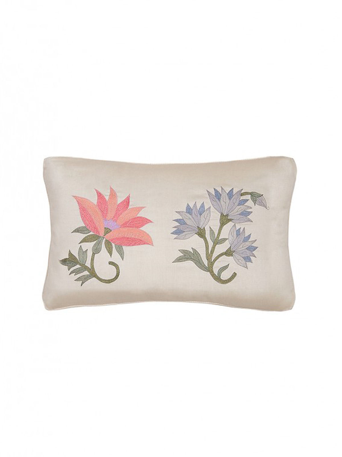 White-Multicolored Embroidered Silk Cushion Cover with Floral Motif