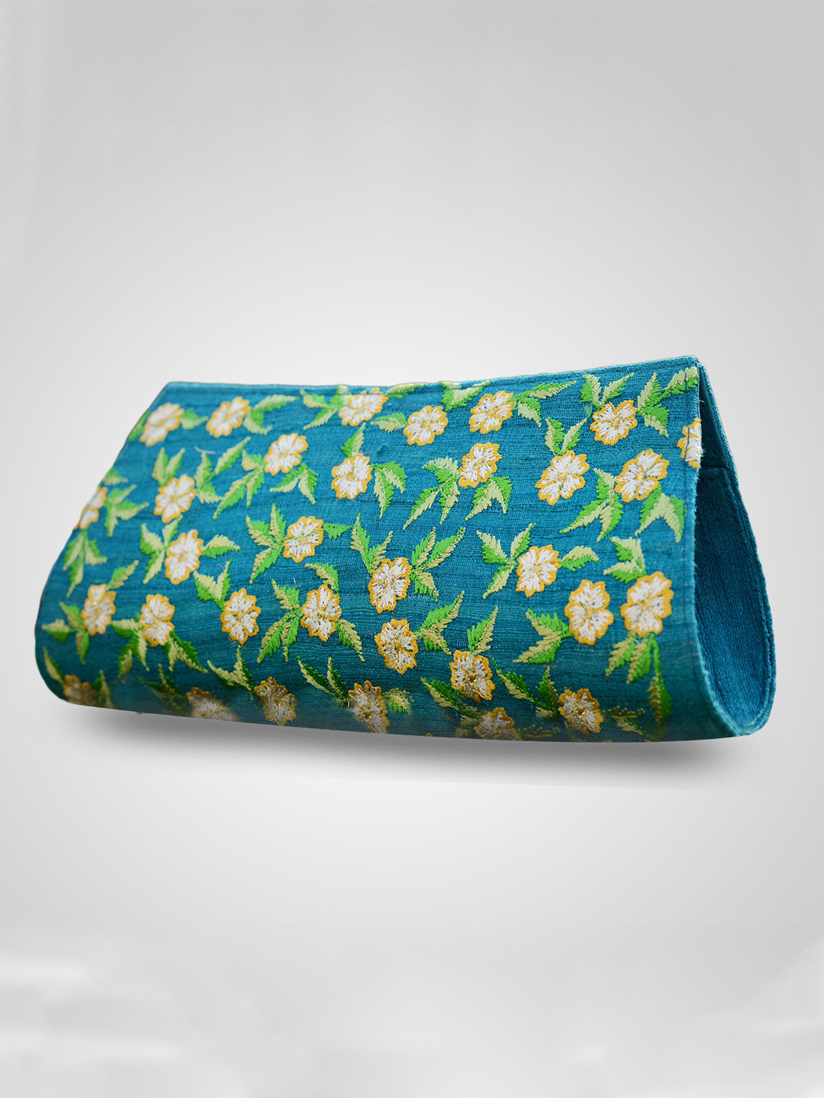 Embroidered on silk floral print clutch handbag for Girls & Women