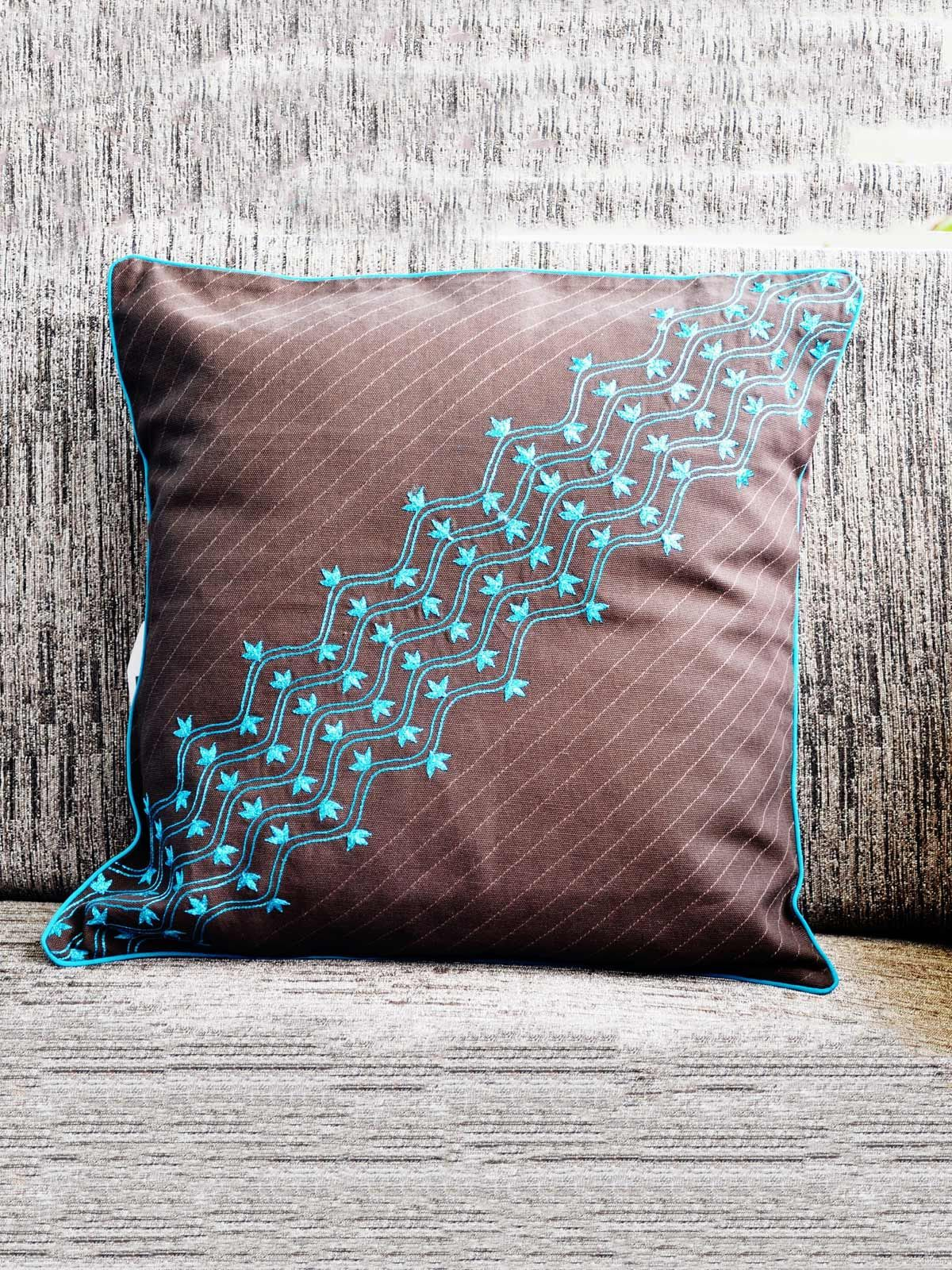 Handmade Embroidered Cushion cover for bed or sofa set (Brown)