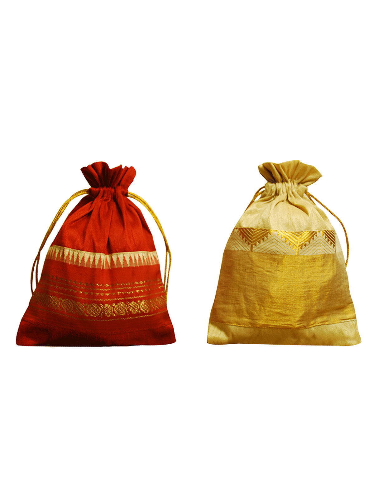 Vibrant Potli - Rust & Gold (Set Of 2)