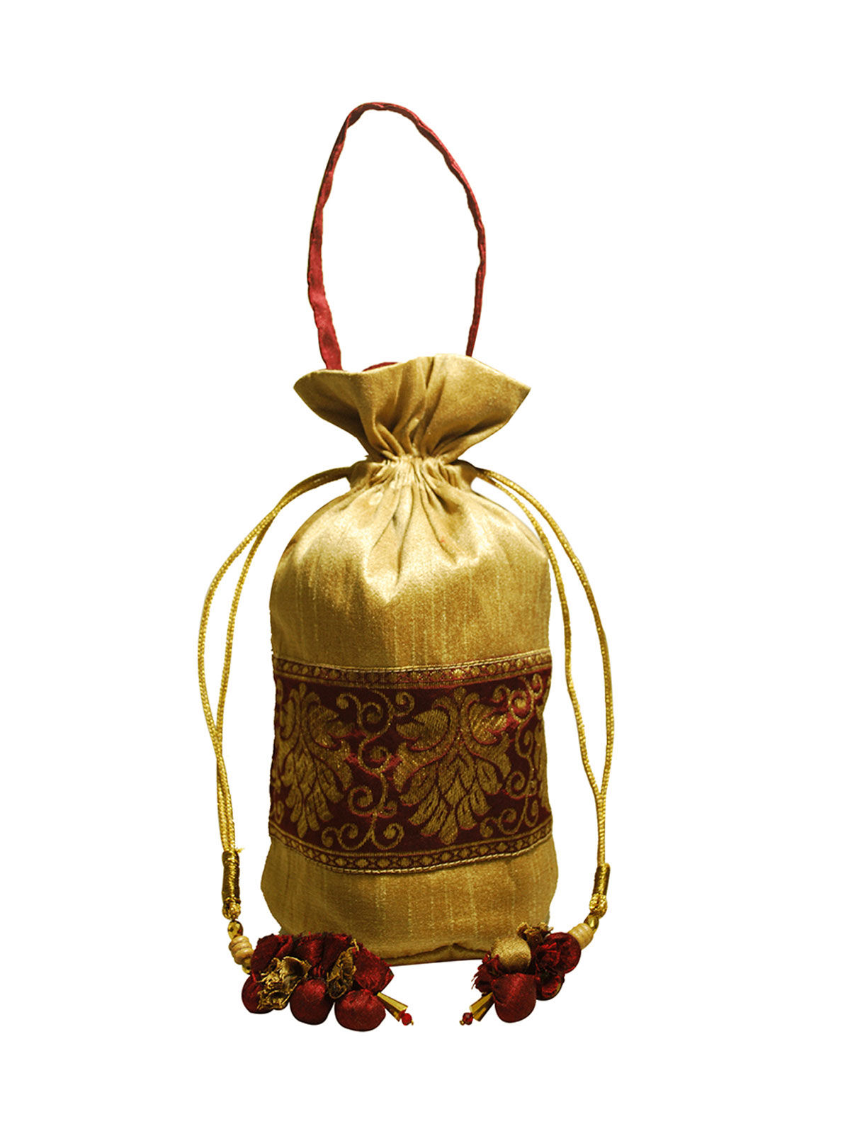Traditional Potli (Maroon & Gold)