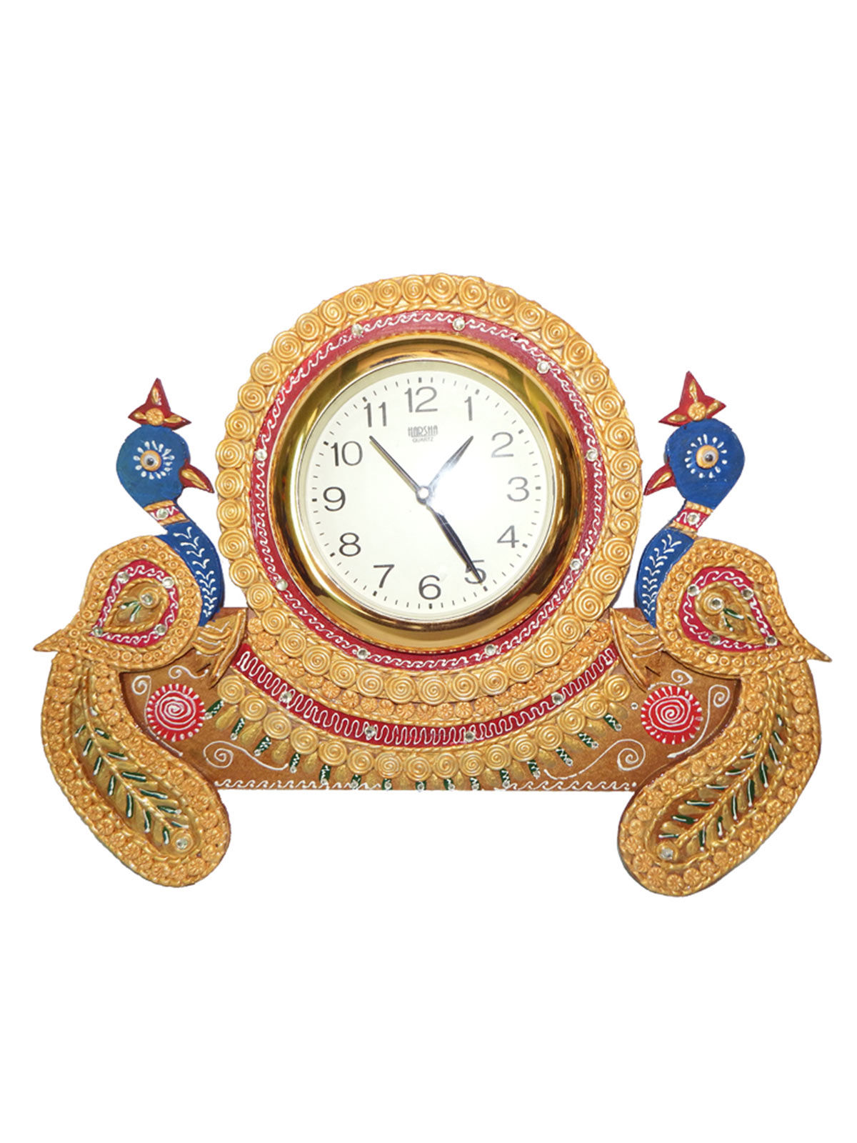 Craftszilla Handcrafted Double Peacock Analog Wall Clock