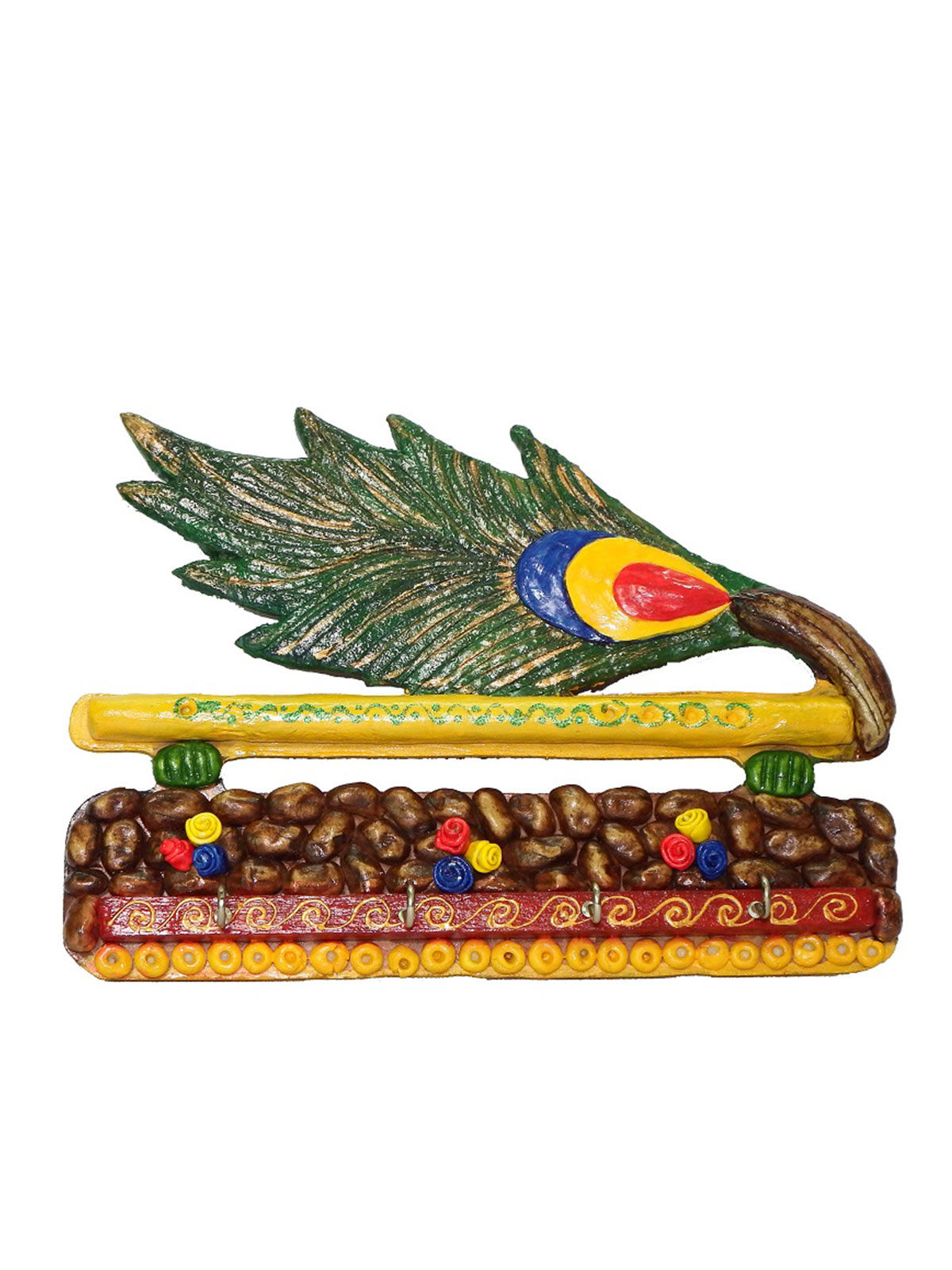 Craftszilla Wooden Peacock Feather Key Holder
