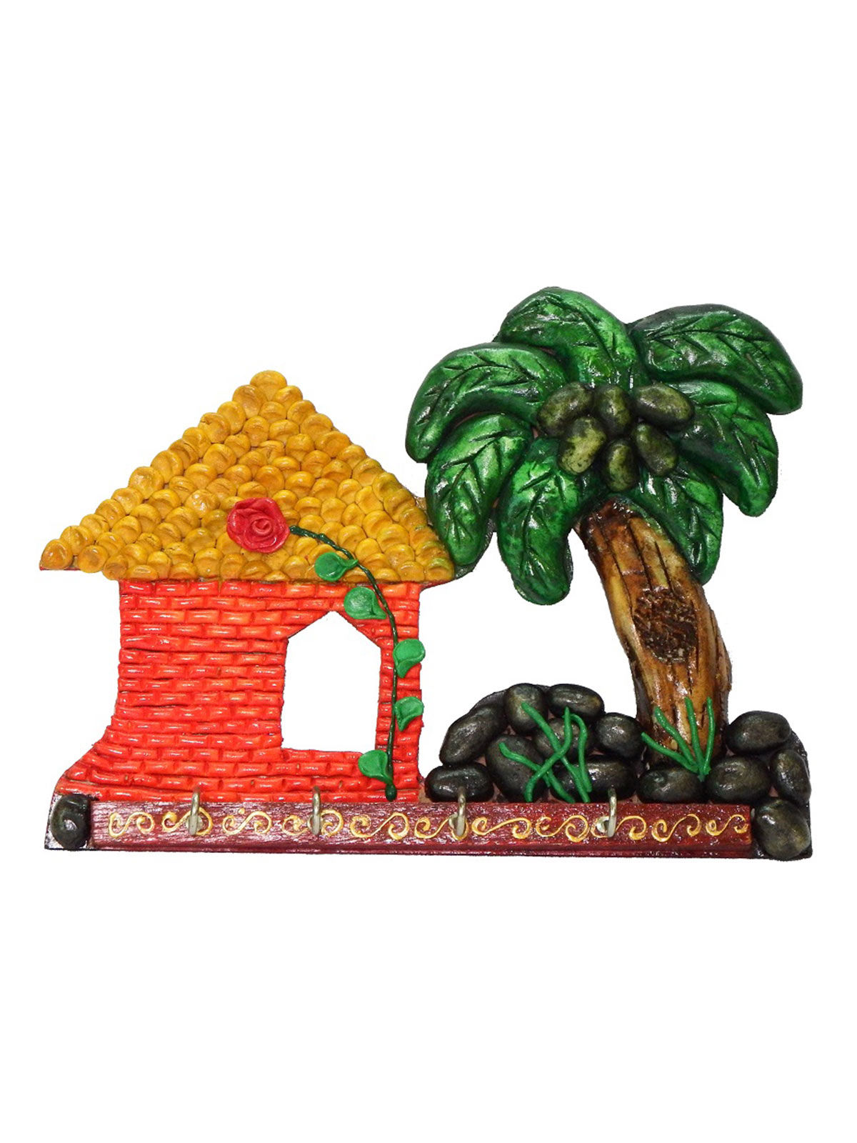 Craftszilla Handcrafted Rajasthani Wooden Hut Key Holder