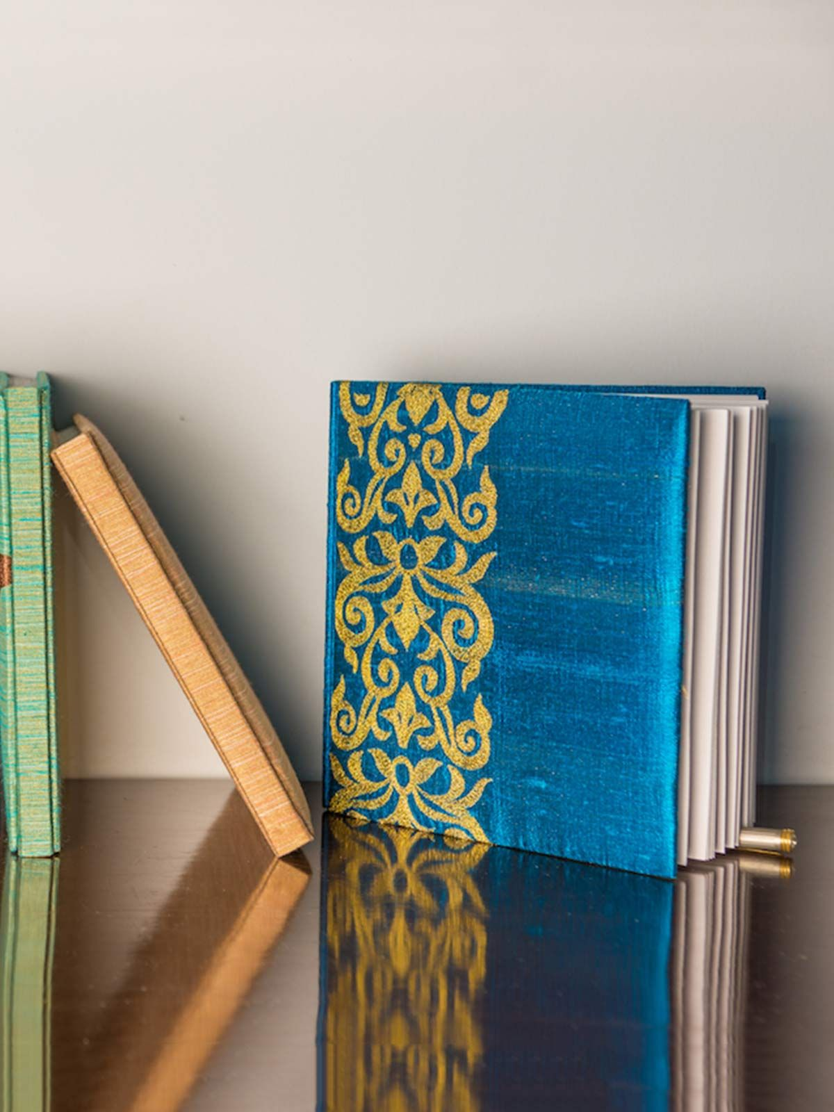 Turquoise Blue Embroidered Raw Silk Diary