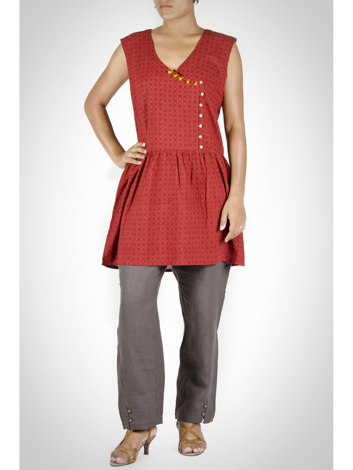 Red Cotton Sleeveless Tunic