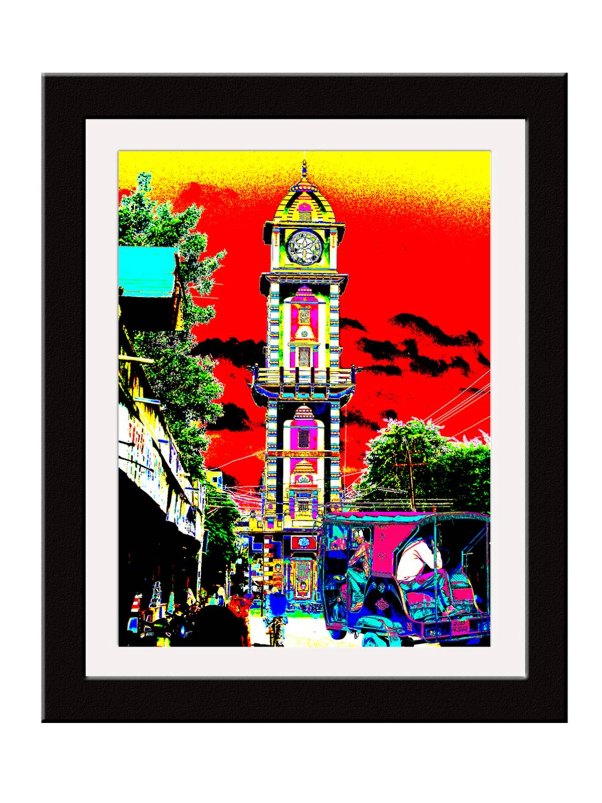 Beautiful Clock Tower Art Print - 12X15 Inches
