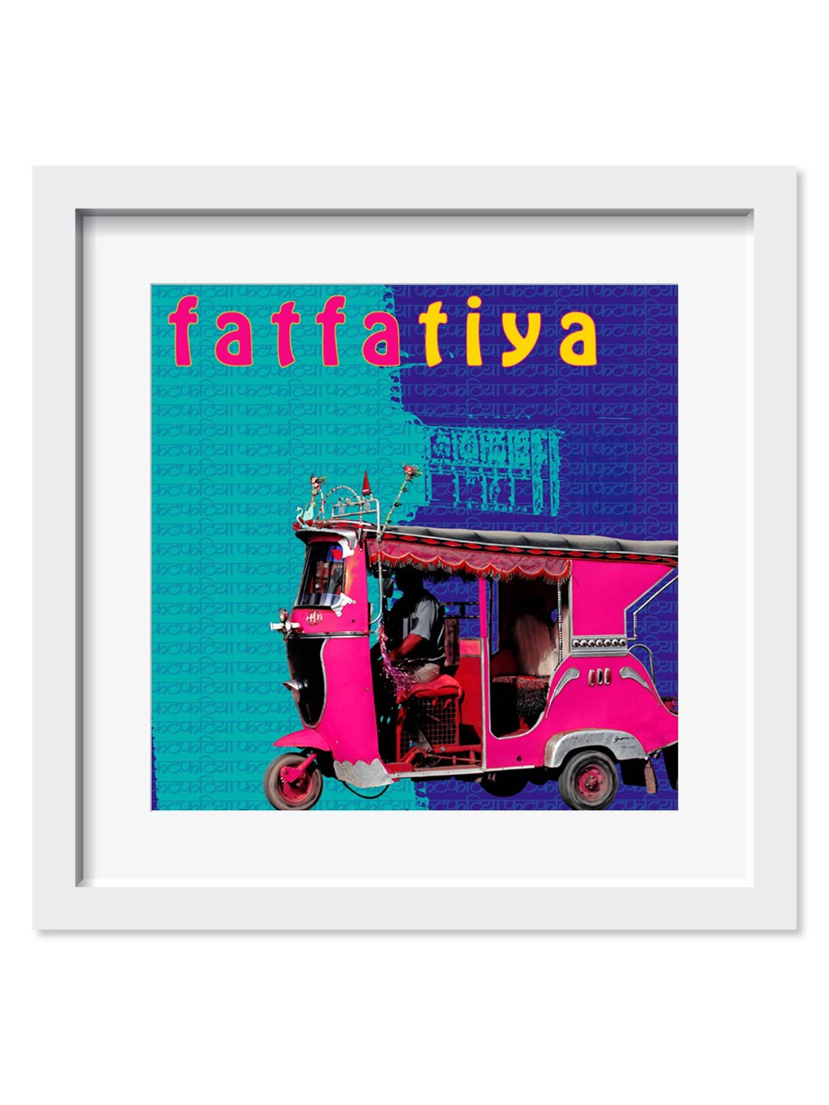 Pink Taxi Art Print - 18X18 Inches