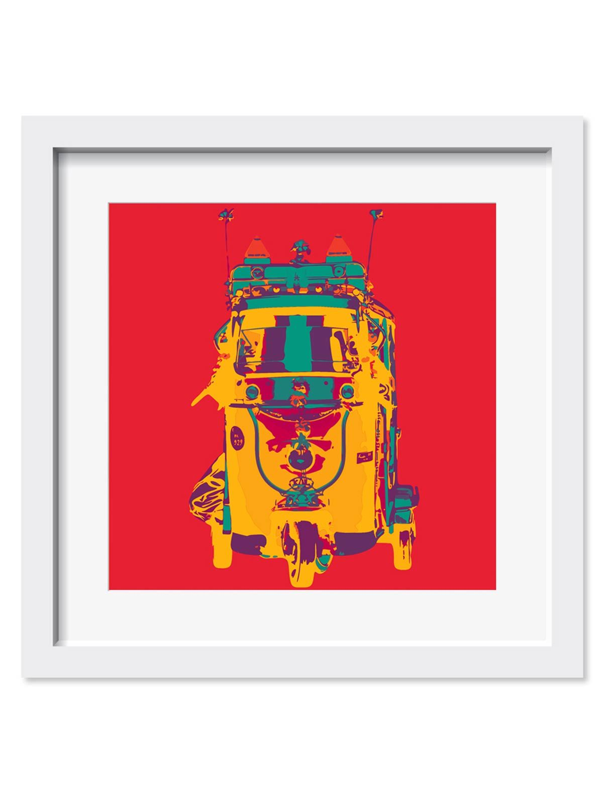 Funky Taxi Art Print - 18X18 Inches